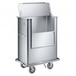Circuito de ropa: recogida en planta, traslado a lavandería, carros de lavandería, carros armario para distribución y tipo jaula